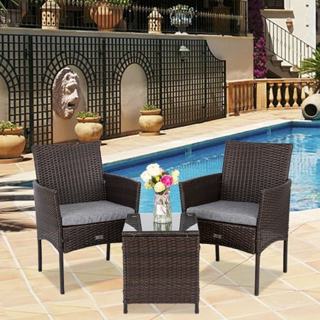 UBesGoo 3-PCS Resin Wicker Chairs and Rattan Table Outdoor Garden and Patio Furniture Set, Brown ()