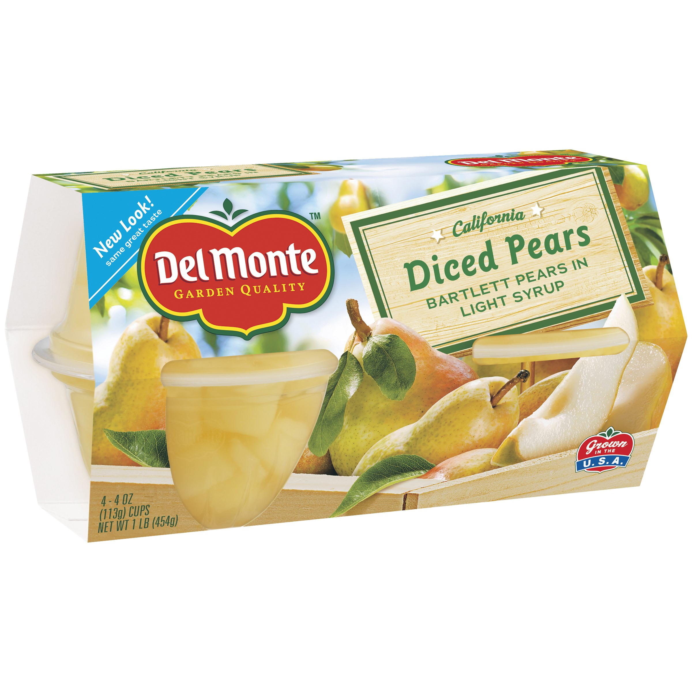 Del Monte Diced Pears in Light Syrup, 4 oz Cup, 4 Count Box