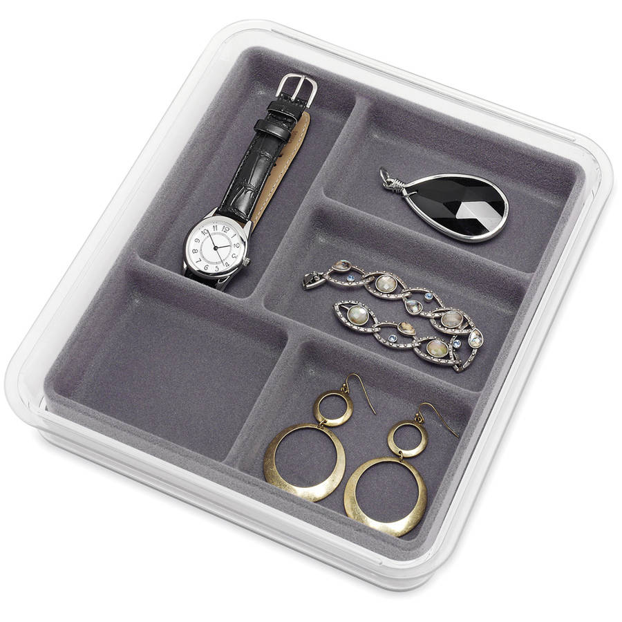 """Whitmor 6483-4358-GREY 8"""" x 9"""" x 1.5"""" Grey and Clear 5 Section Stacking Jewelry Tray"""
