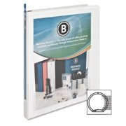 "Business Source Round-ring View Binder - 1/2"" Binder Capacity - Letter - 8 1/2"" x 11"" Sheet Size - 125 Sheet Capacity - Round Ring Fastener - 2 Internal Pocket(s) - Polypropylene - White - 1 Each"