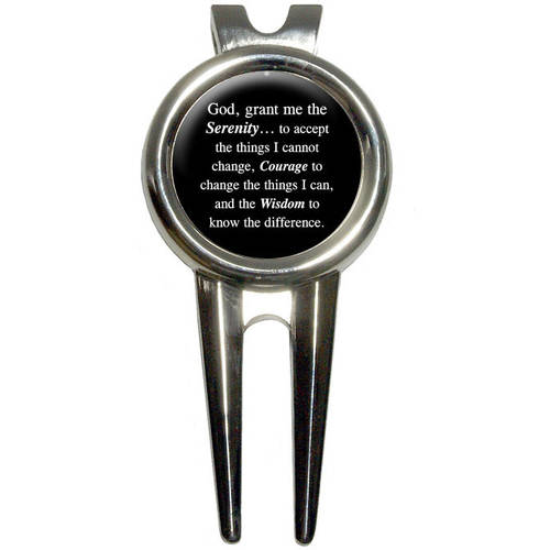 Serenity Prayer on Black Golf Divot Repair Tool and Ball Marker