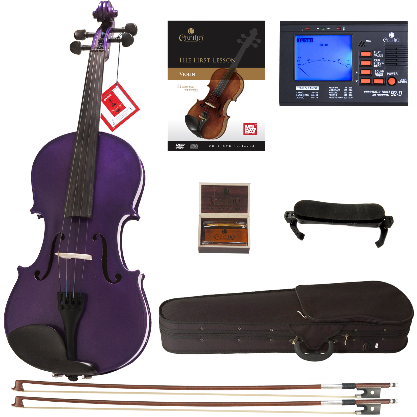 Cecilio Full Size Ebony Fitted Solid Wood Metallic Purple Violin w/D'Addario Prelude Strings, Lesson Book, Shoulder Rest and More 4/4CVN-Purple