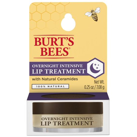 Burts Bees 100% Natural Overnight Intensive Lip Treatment, Ultra-Conditioning Lip Care - 0.25