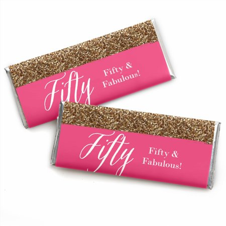 Chic 50th Birthday - Candy Bar Wrappers Party Favors - Set of 24 50th Anniversary Candy Wrappers