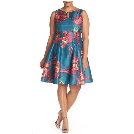 Julian Taylor Women\'s Plus Size Shantung Fit & Flare Dress - Plus Party  Dress