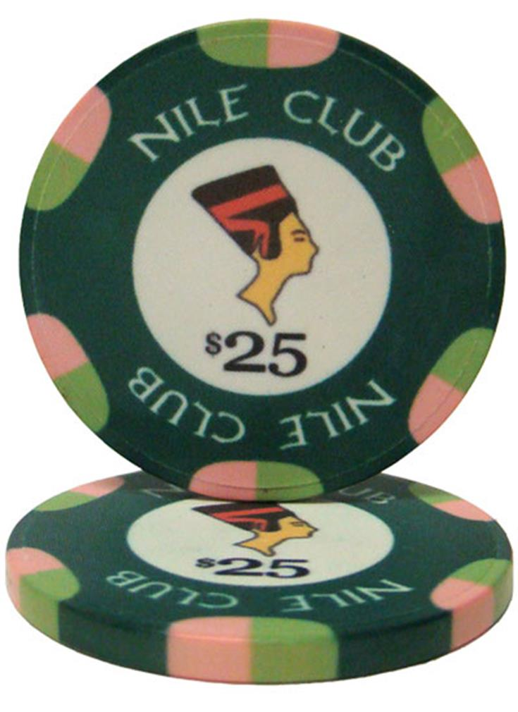 """Roll of 25 $25 Nile Club 10 Gram Ceramic Poker Chip"" by BryBelly"