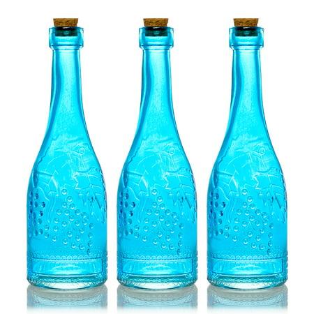 BULK PACK (3) Stella Turquoise Vintage Glass Bottle Wedding Flower Vase - Wine Bottle Vases