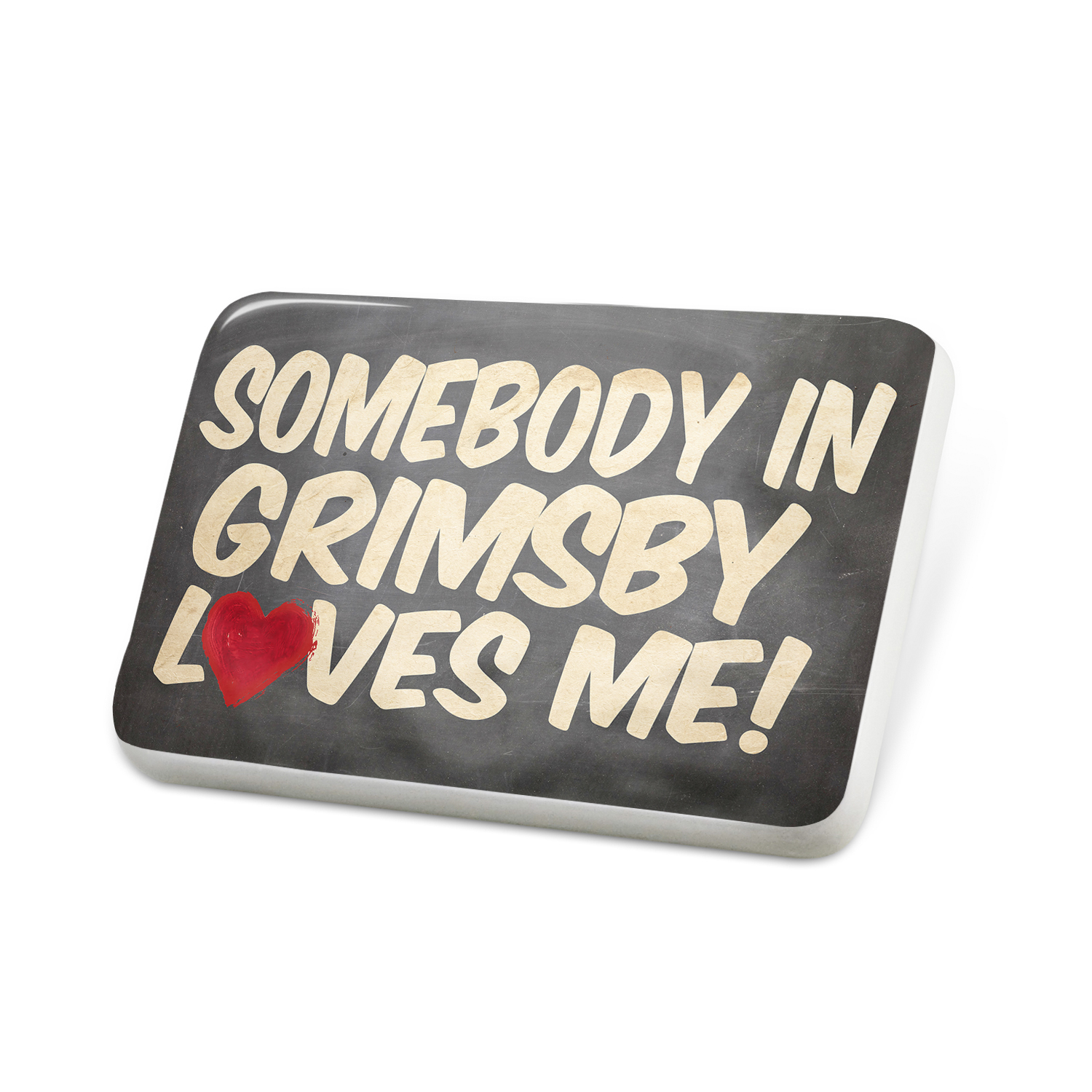 Porcelein Pin Somebody in Grimsby Loves me, England Lapel Badge – NEONBLOND