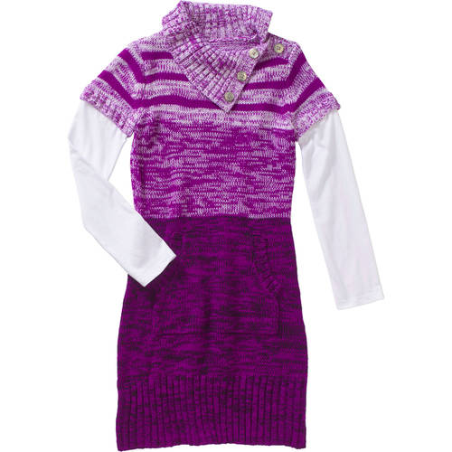 L.E.I. Girls' Split Neck Tunic Sweater Dress