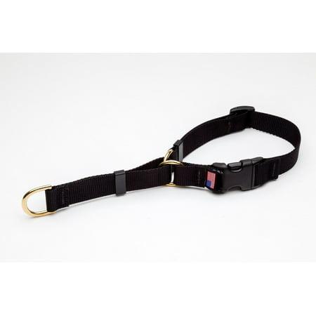 - Martingale Dog Collar High Quality Adjustable Heavy Soft Webbing Brass Hardware (Black,Medium 15 to 20 Inches)