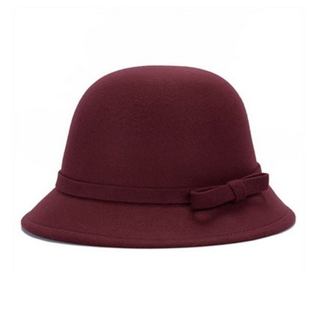 Women's Ladies Winter Vintage Elegant Wool Bow-knot Felt Hat Cloche Bucket Cap Wine Red Wool Felt Hat Wine