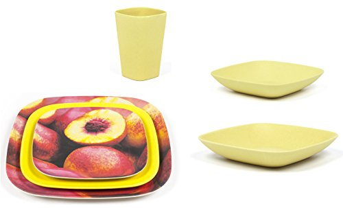 Bamboozle 24-piece Bamboo Place Setting Service for Four (Citrine   Peaches Print) by Bamboozle