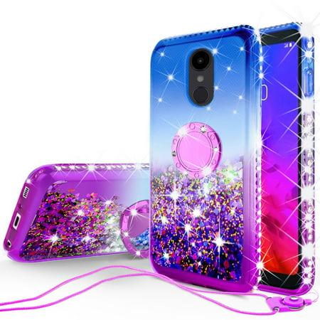 Glitter Phone Case Kickstand LG Q7, Q7 Plus Case,Ring Stand Liquid Floating  Quicksand Bling Sparkle Protective Girls Women for LG Q7/Q7 Plus - (Blue