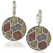 Suzy Levian Cubic Zirconia Sterling Silver Multi-Color Circle Earrings