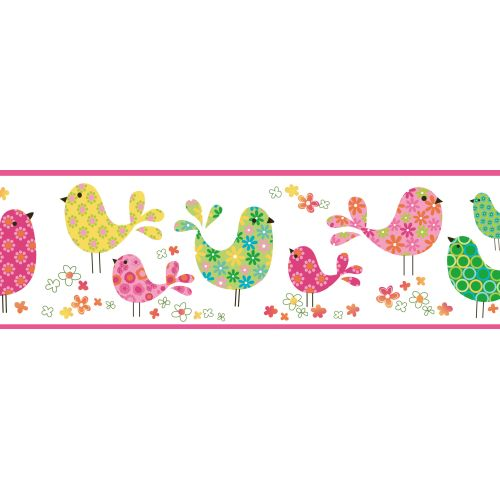 Brewster TOT46411B Patria Pink Calico Birdies Toss Border Wallpaper