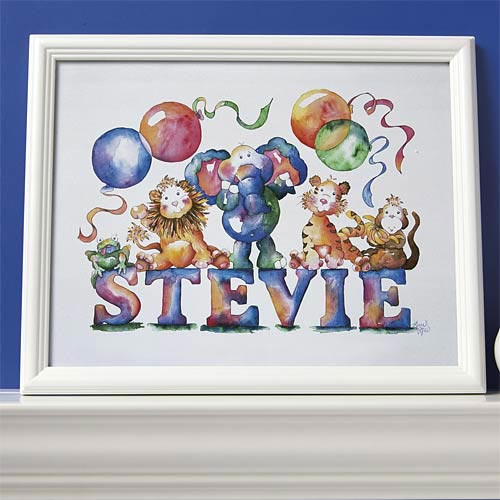 Personalized Animal Baby Name Print