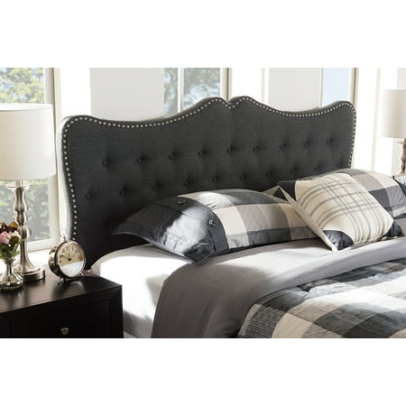 Baxton Studio Emma Modern and Contemporary Dark Grey Fabric King Size Headboard