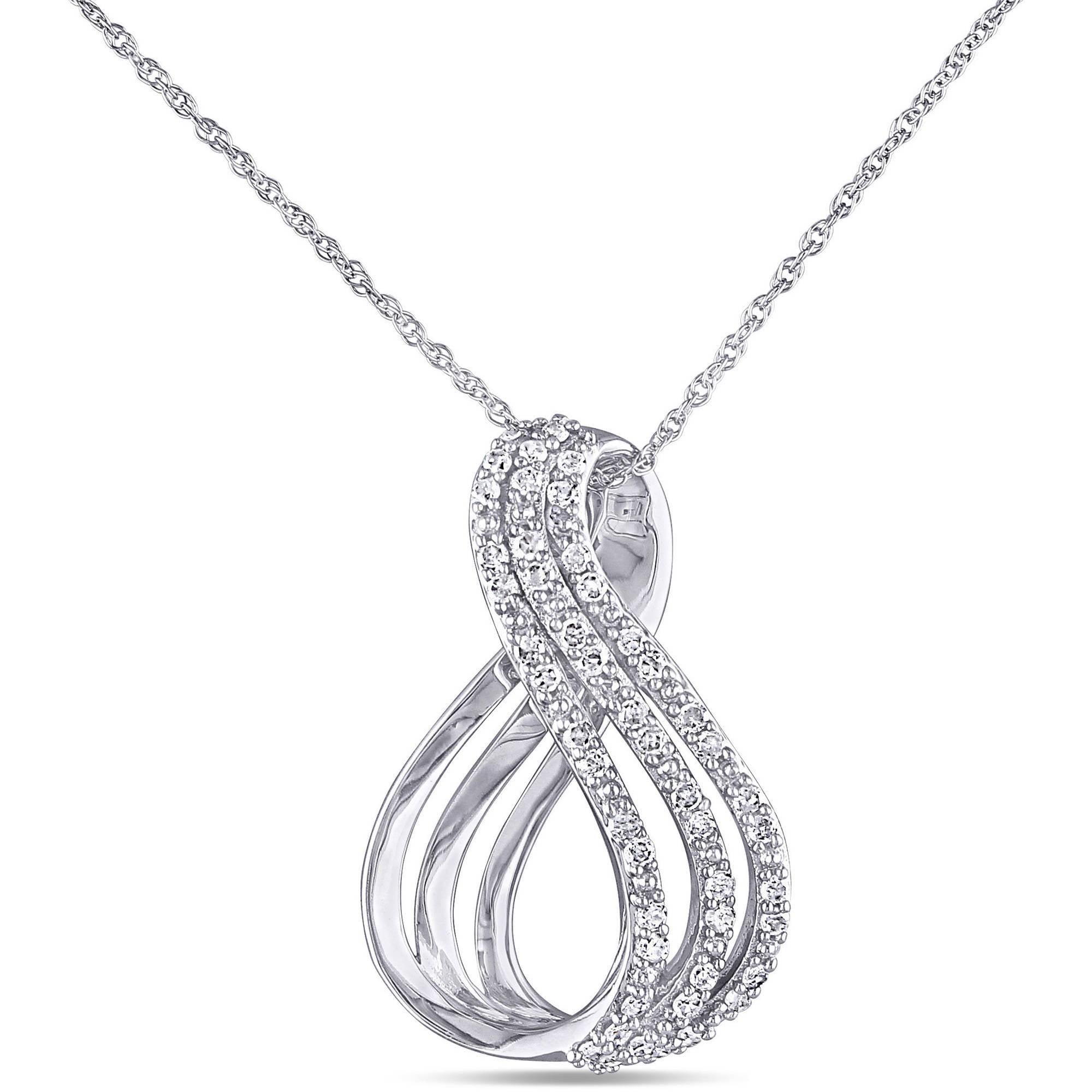 Miabella 1/4 Carat T.W. Diamond 10kt White Gold Infinity Pendant