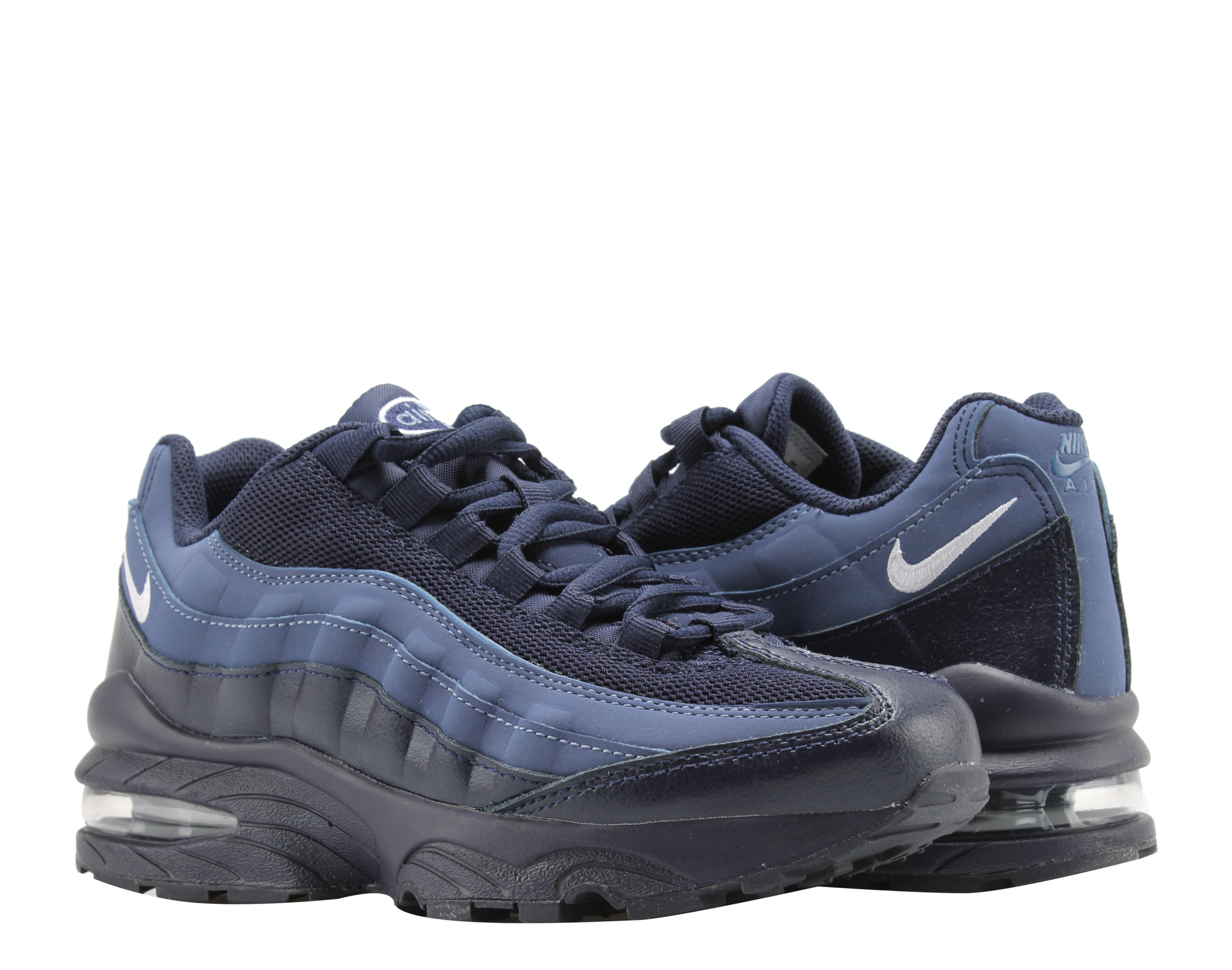 Nike - Nike Air Max '95 GS Blackened Blue/White Big Kids Running Shoes 307565-410 - Walmart.com