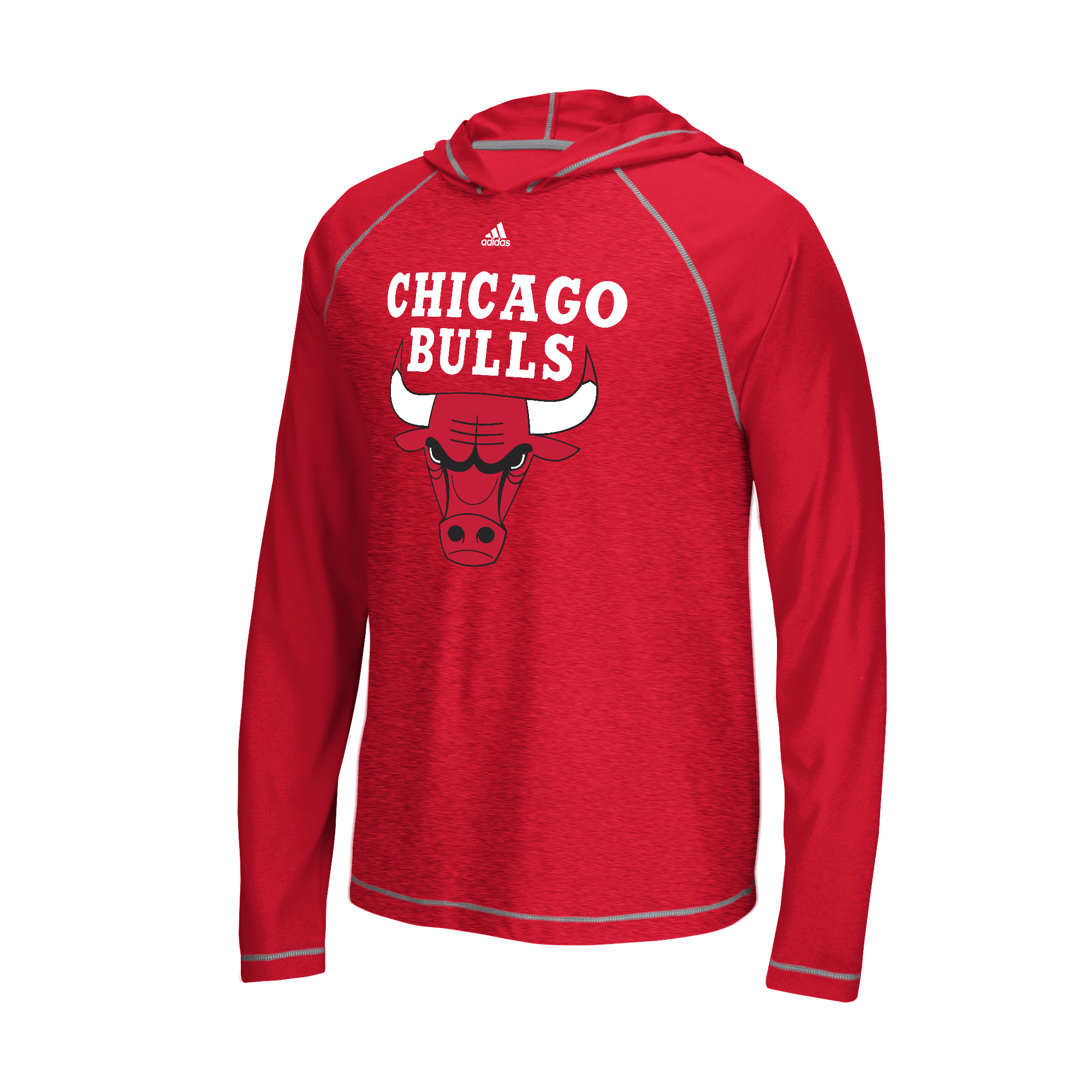 """Chicago Bulls Adidas NBA """"Primary"""" Men's Climalite Hooded L/S Shirt"""
