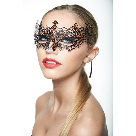 BA005RDBK Luxury Metal Laser Cut Venetian Masquerade Ball Mask with Sparkling Rhinestones ()