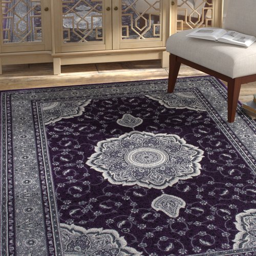 Bloomsbury Market Inouye High-End Ultra-Dense Thick Woven Floral Art Deco Patterned Raspberry Area Rug