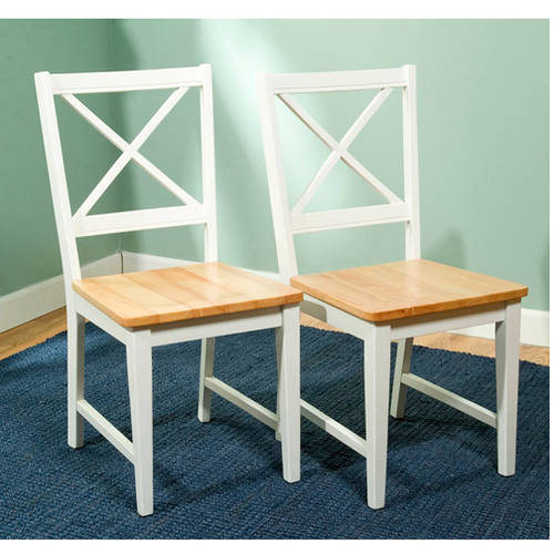 Attractive Virginia Cross Back Chair, Set Of 2, White/Natural