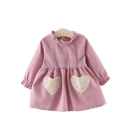 Baby Girls Dresses Spring Winter Long Sleeve Princess Party Heart-Shaped Dresses - Winter Dress Girls