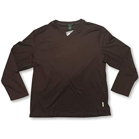 Calvin Klein V-Neck Long Sleeve Adult Maroon Men's Shirt