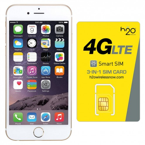 Refurbished iPhone 6 Plus Gold AT&T with H2O SIM card(1GB Data Included) 16GB