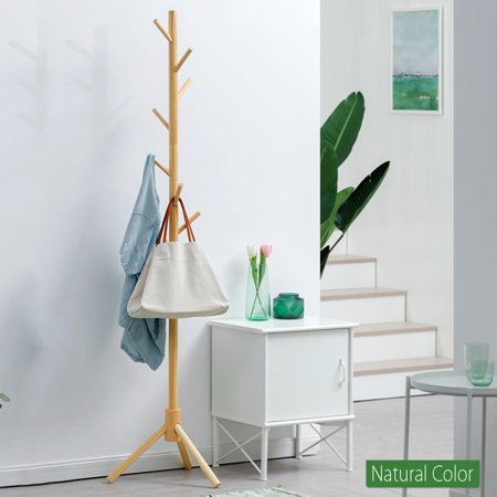 8-Hooks Creative Simplicity Solid Wood Floor Finish Entryway Standing Coat Rack Hall Tree Hat Hanger Holder with Tripod Base for Jacket Clothes Scarves Purse thumbnail