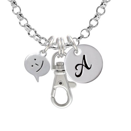 Emoticon :-) - Smiling - A - Initial Badge Clip Necklace