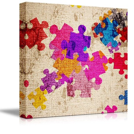 Wall26 - Canvas Prints Wall Art - Colorful Puzzle Pieces on a Canvas | Modern Wall Decor/ Home Decoration Stretched Gallery Canvas Wrap Giclee Print. Ready to Hang - 24