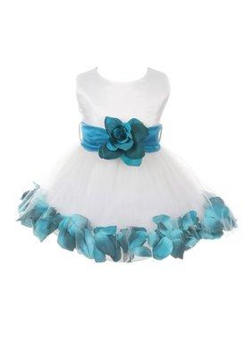 e280eba13 Product Image Baby Girls Ivory Teal Floral Petals Organza Sash Flower Girl  Dress 6-24M