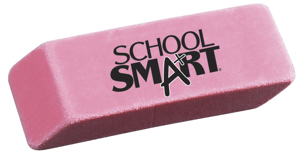 School Smart Beveled Block Erasers, Large, Pink, Pack of 12 by Wenzhou Sun Stationery Co LTD