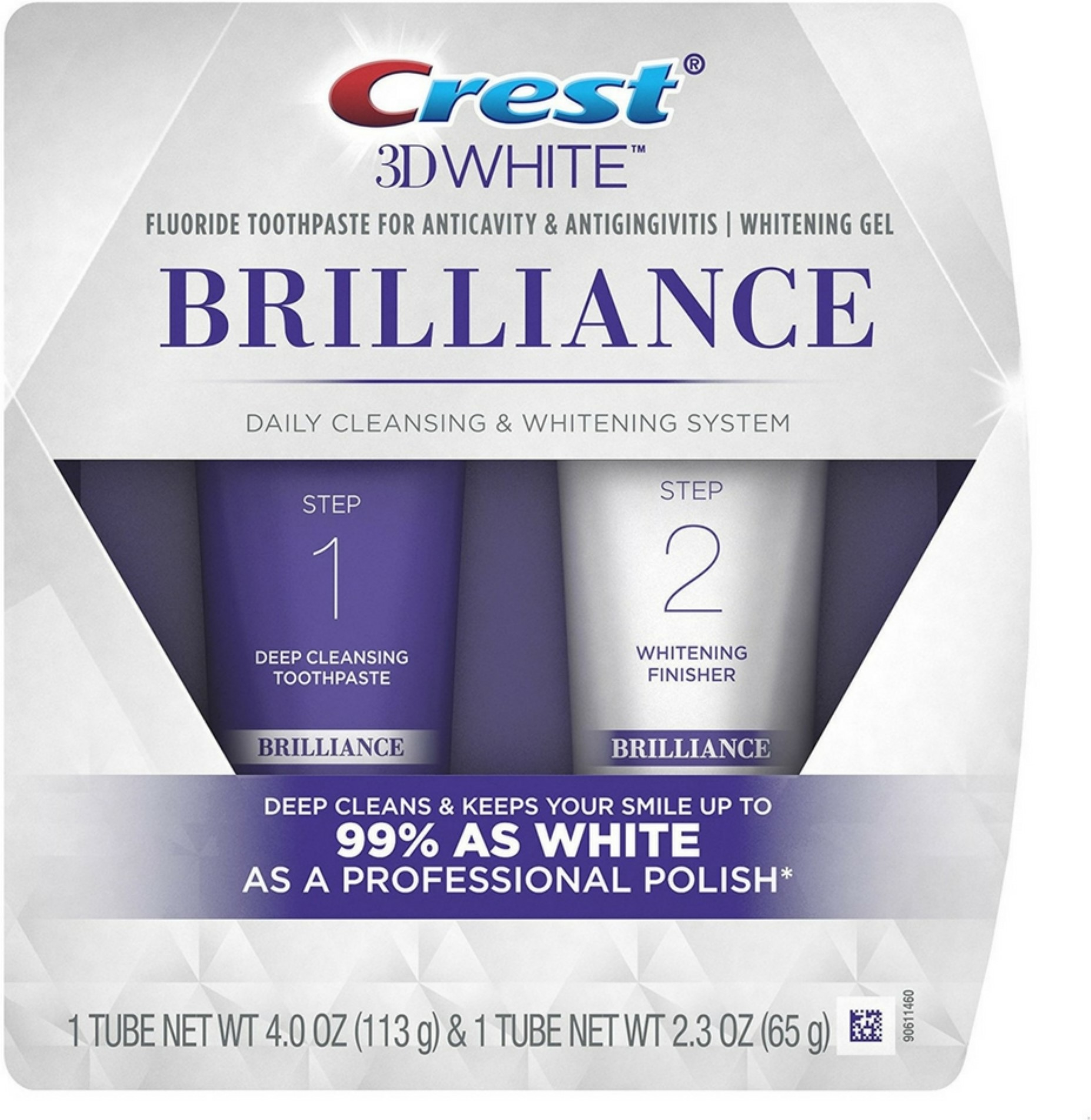 Crest 3D White Brilliance Daily Cleansing Toothpaste & Whitening Gel System 1 ea (Pack of 2)