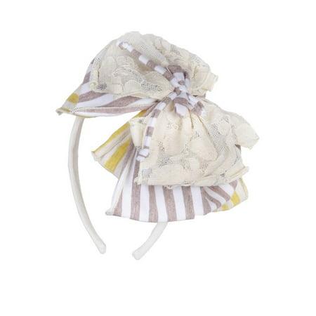 Isobella   Chloe Girls Yellow Sunshine Twist Stripes Lace Hard Headband