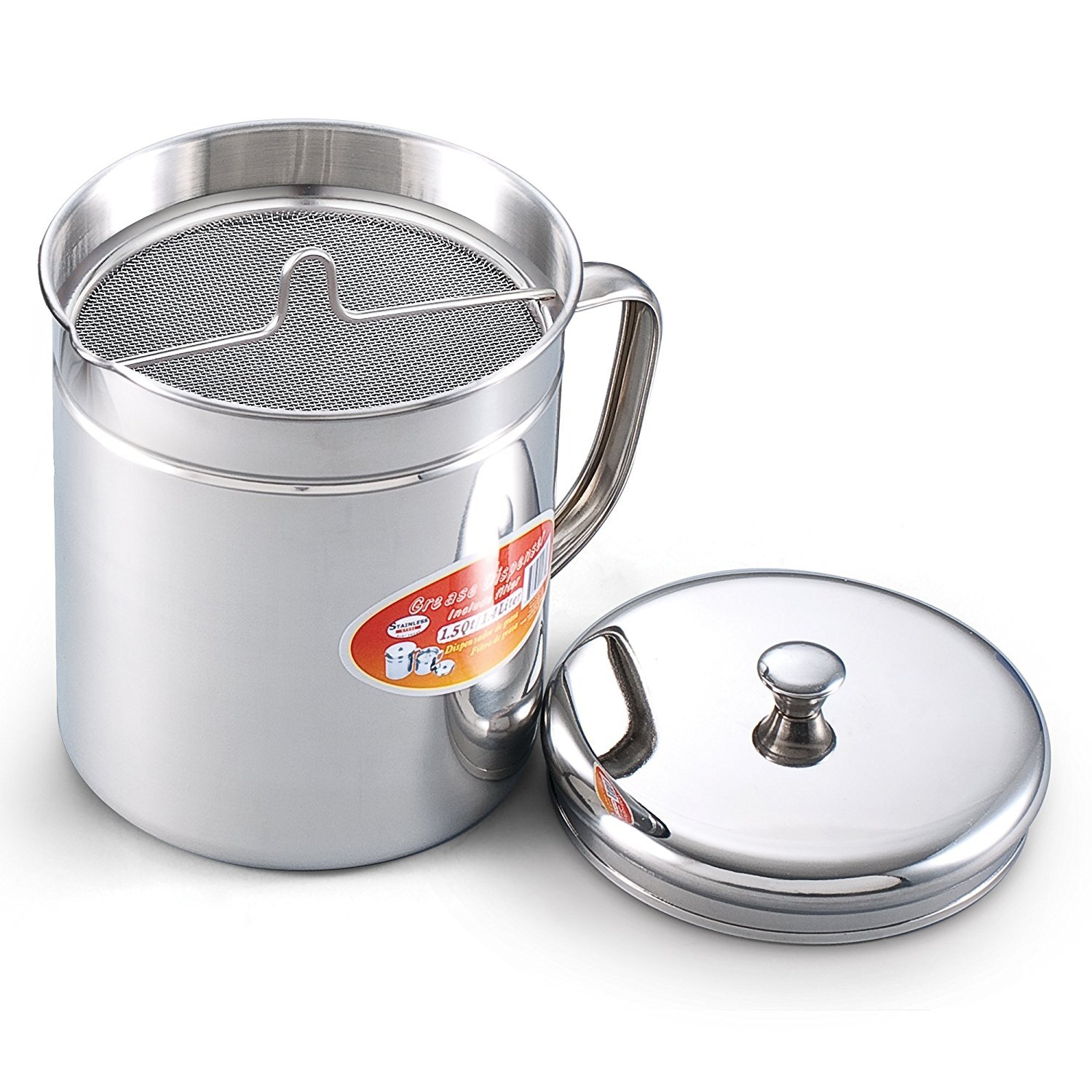 Cook N Home 1.5 Quart Stainless Steel Oil Storage Can Strainer, 6 Cup by Cook N Home