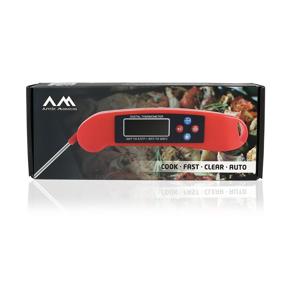 Arctic Monsoon BBQ Digital Wireless Meat Thermometer, Accurate Instant Read with Collapsible Probe, Red