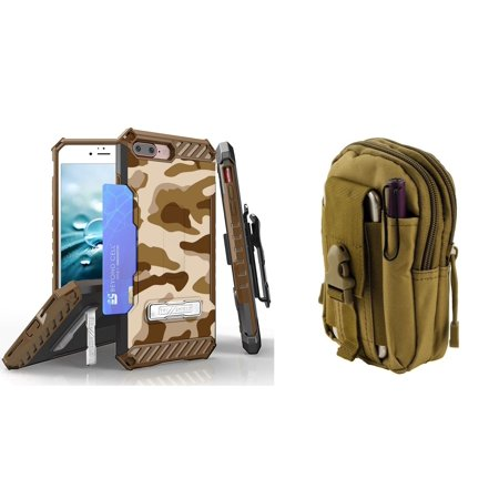 Beyond Cell Tri Shield Series Compatible with iPhone 8 Plus, iPhone 7 Plus Bundle with Military Grade Clip Holster Case (Desert Camo) with Travel Pouch (Khaki) and Atom (Military Clip Pouch)