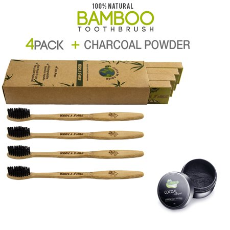4 Pack of Bamboo Eco-Friendly Toothbrush and a Jar of Activated Natural Charcoal Teeth Whitening Powder for Brighter Smiles