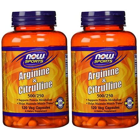 Now Foods - Arginine & Citrulline 500/250mg 120 Capsules (Pack of 2) 120 Tabs Now Foods