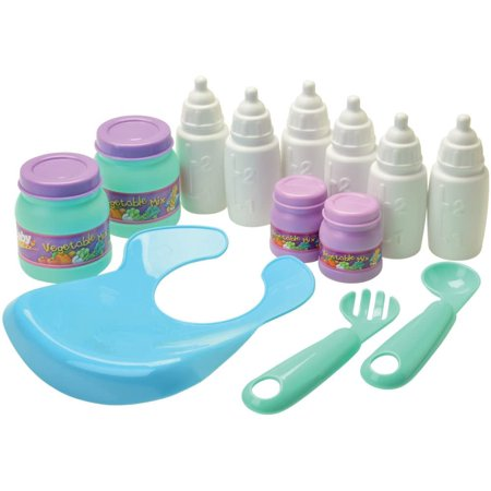Constructive Playthings Kids Baby Doll Bath and Feeding Accessory Toy Set