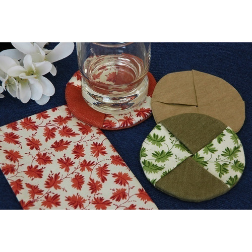 Pacific Table Linens Denim Wine Glass Coaster with Cercie (Set of 2)