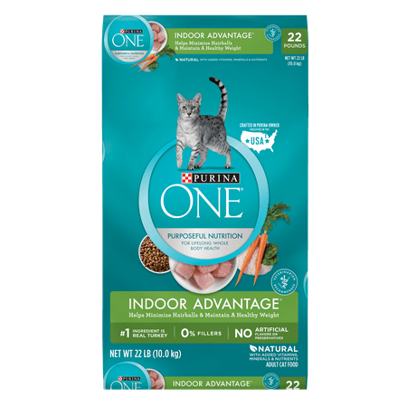 - Purina ONE Hairball, Weight Control, Indoor, Natural Dry Cat Food; Indoor Advantage - 22 lb. Bag