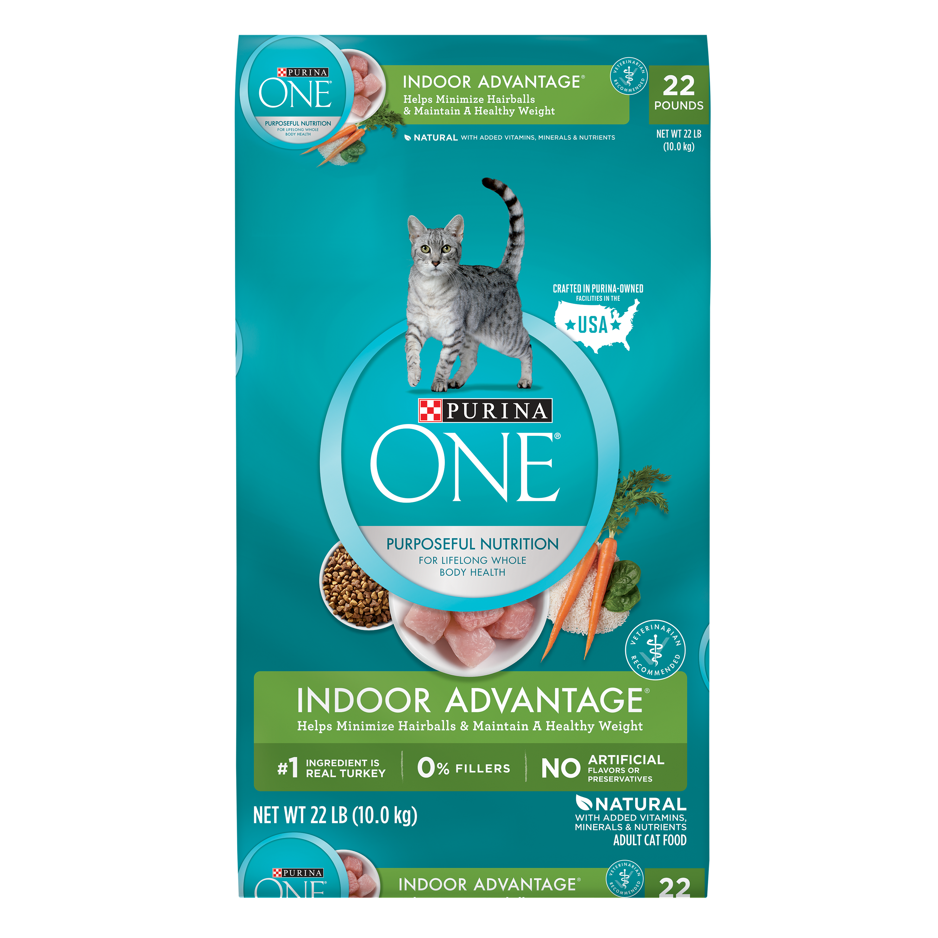 Purina ONE Indoor Advantage Adult Dry Cat Food, 22 lb