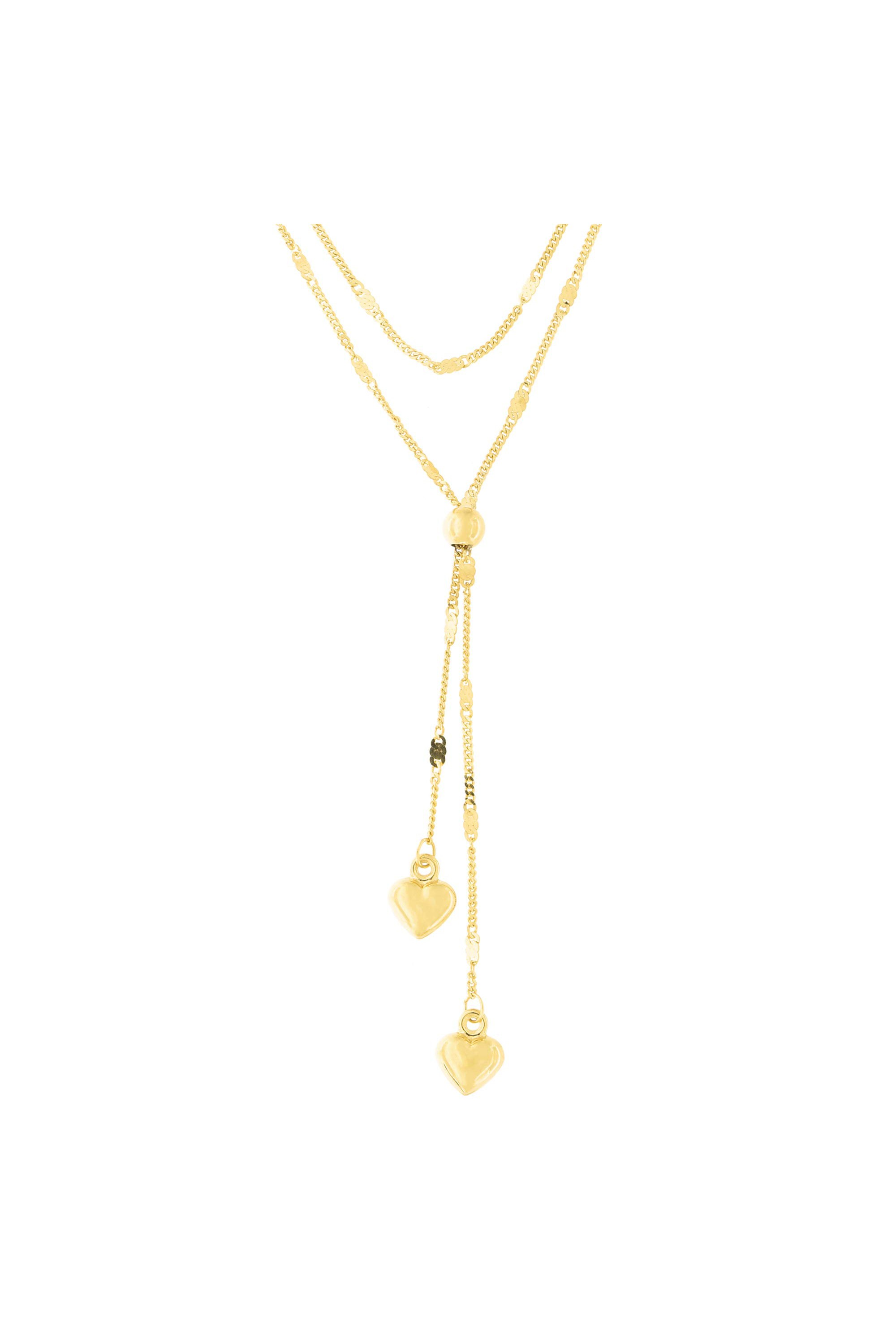 86a6cf7da12f6 14k Yellow Gold Double Layer Fancy Gourmette Chain Puffed Hearts Lariat  Necklace, 17