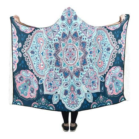 ASHLEIGH Blanket Mandala Floral Paisley Anti-Pilling Polar Fleece Hooded Blanket Throw Wrap 56x80 inch