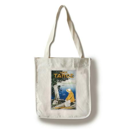 Lake Tahoe - Vintage Promotional Poster (100% Cotton Tote Bag - Reusable)