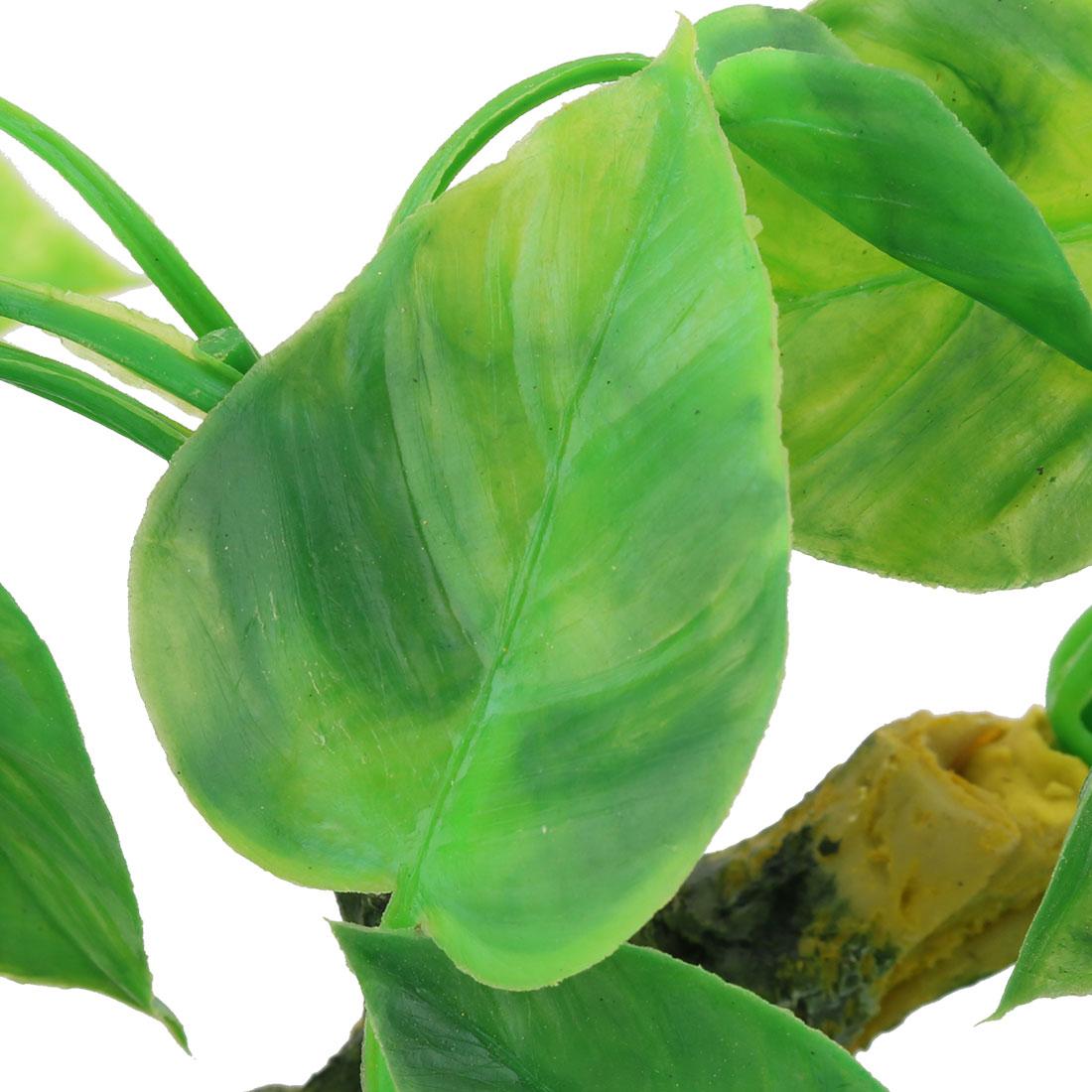 Aquarium Ceramic Base Plastic Artificial Landscap Water Plant Decor Green Yellow - image 1 de 3